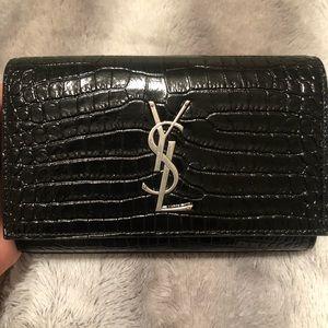 Saint Laurent Crocodile Embossed Kate Belt Bag